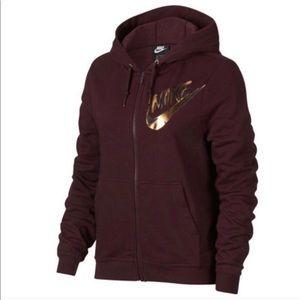 Nike   Sportswear Full-Zip Metallic Hoodie sz S